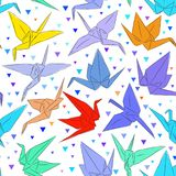 Japanese Origami white paper cranes set sketch seamless pattern, symbol of happiness, luck and longevity, green blue purple red ye. Llow on white background Stock Photo
