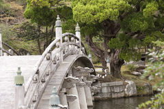 Japanese ornamented bridge, Kyoto. An ornamented wooden bridge crossing a stream, part of Kyoto's Imperial Palace complex, Japan Royalty Free Stock Photos