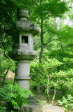 Japanese outdoor stone lantern and lake in zen garden Stock Photos