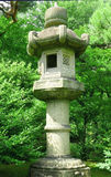 Japanese outdoor stone lantern and lake in zen garden Stock Image