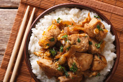 Japanese oyakodon and rice close-up in a bowl. horizontal top vi Stock Photos