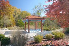 Japanese Pagoda. Pagoda on japanese garden during autumn Royalty Free Stock Images