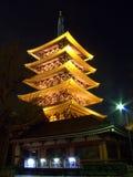 Japanese pagoda. Night view of five storied pagoda in Tokyo (Japan) near Asakusa Kannon Temple Royalty Free Stock Image