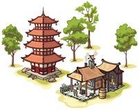 Japanese pagoda, the blacksmith and some isolated Stock Photography