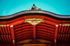 Japanese Pagoda Detail. Detail on the top of a Pagoda in the Japanese Tea Gardens in San Francisco California Stock Photos