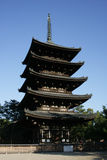 Japanese Pagoda at Nara. This is a five story pagoda in Nara, Japan. It's the second tallest pagoda in Japan stock photo