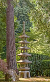 Japanese pagoda at portland japanese garden Stock Photo