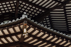 Japanese Pagoda Roof Beams. Underside view of Rafter Beams of Japanese Pagoda Roof with Chime Stock Photography