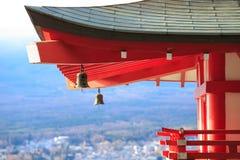 Japanese Pagoda roof and landscape from chureito pagada at Kawag Stock Image