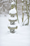 Japanese pagoda in snow Stock Images