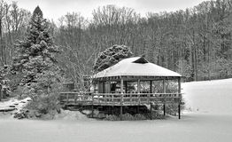 Japanese Pagoda in the snow Royalty Free Stock Photos