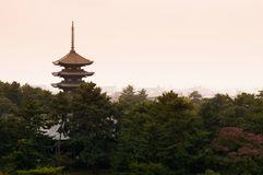 Japanese pagoda, Toji pagoda in Nara royalty free stock photography