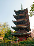 Japanese pagoda in Tokyo. Daylight view of five storied pagoda in Tokyo (Japan) in Ueno zoo Stock Photography