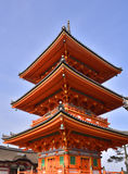 Japanese Pagoda. View of three tiered pagoda, Kiyomizu dera temple complex, Kyoto, Japan royalty free stock photo