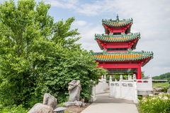 Japanese Pagoda Zen Garden. Japanese Pagoda is a  wooden structure, elevated slightly off the ground, with tiled or thatched roof. This is located in Des Moines Royalty Free Stock Photos