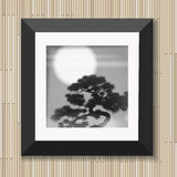 Japanese painting graphic art in frame with pine and moon on wooden background vector illustration. Picture tree in moonlight Stock Images