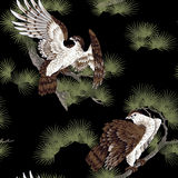 Japanese painting hawk. It is a pine to a Japanese painting hawk Royalty Free Stock Photo