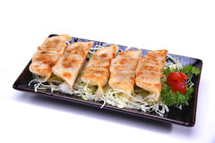 Japanese Pan Fried Dumplings , Gyoza isolated on white backgroun Royalty Free Stock Images
