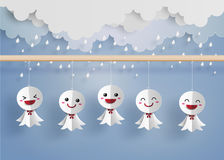 Japanese paper doll against rain Royalty Free Stock Photo