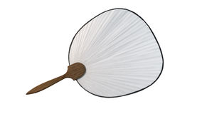 Japanese paper fan isolated. White japanese paper fan isolated with wooden handle with clipping path on white background for annoncement Royalty Free Stock Photos