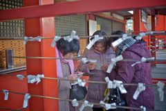 Japanese paper fortune. TOKYO, JAPAN - December 2014: three Japanese ladies are looking at her Omikuju charms at the Asakusa, Tokyo, Japan Royalty Free Stock Image