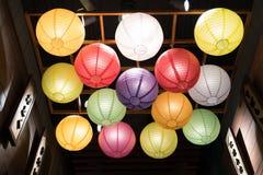 Japanese paper lantern decoration. Japanese colorful paper lantern decoration stock photo