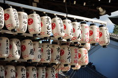 Japanese Paper Lantern. Some paper Lantern under a eave of a Japanese temple Stock Photography