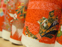 Japanese paper wrap. Taken in a bookshop. the scrolls were lined vertically Royalty Free Stock Photo