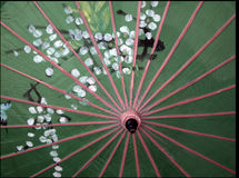 Japanese parasol. Underside of traditional decorated Japanese parasol or umbrella Stock Images