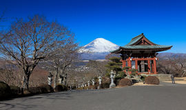 Japanese park with Mount Fuji background Royalty Free Stock Image