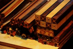 Japanese Parquet work. Beautiful Japanese patterned parquet is traditional craftworks made in Hakone Town, Kanagawa Prefecture, Japan Stock Photography