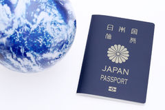 Japanese passport and earth globe Royalty Free Stock Images
