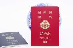 Japanese passport and earth globe Royalty Free Stock Photography
