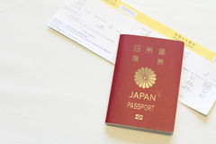 Japanese passport and immigration card Stock Photos