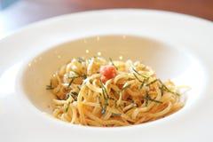 Japanese pasta Mentaiko spaghetti Royalty Free Stock Image