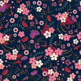 Japanese pattern. Japanese style seamless pattern with floers Stock Photos