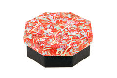 Japanese pattern gift box. On white background. Closeup Royalty Free Stock Photography