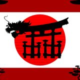 Japanese pattern nippon background dragon Royalty Free Stock Photography