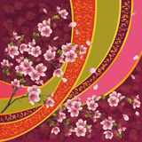 Japanese pattern with sakura blossom. Oriental ornamental background with sakura blossom - Japanese cherry tree and ribbon with pattern vector illustration