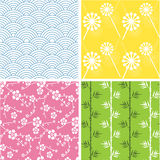 Japanese patterns. Set of 4 funky Japanese inspired seamless patterns, good for backgrounds Royalty Free Stock Photography