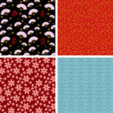 Japanese patterns. Four seamless japanese style patterns Stock Images