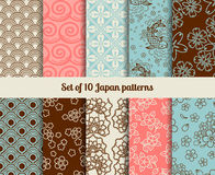 Japanese patterns. Japanese seamless patterns. Endless textures for backgrounds and wrapping papers Royalty Free Stock Image