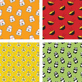 Japanese Patterns. Set of Four Japanese Seamless Patterns in Cartoon Style Stock Images