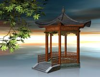 Japanese pavilion - 3D illustration Royalty Free Stock Photos