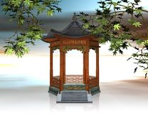 Japanese pavilion - 3D illustration Royalty Free Stock Photography