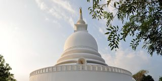Japanese Peace Pagoda at Rumassala, Galle, Sri Royalty Free Stock Photo