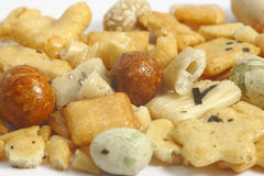 Japanese peanut crackres. On the white background Royalty Free Stock Photos
