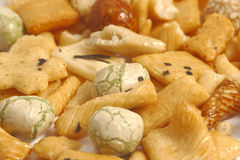 Japanese peanut crackres. On the white background Royalty Free Stock Image