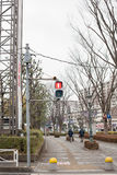 Japanese pedestrian crossing light. In the urban area Stock Image