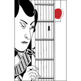 Japanese peeping through the keyhole. Vintage hand draw art Royalty Free Stock Photos